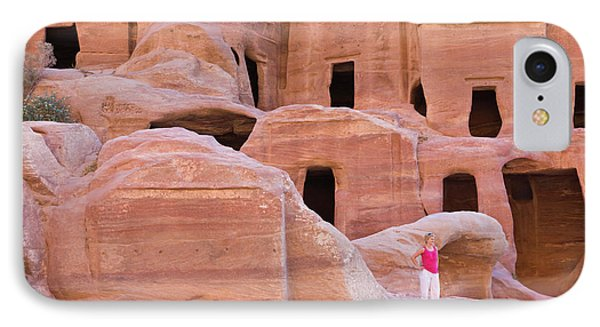 Tourist With Uneishu Tomb, Petra IPhone Case by Keren Su