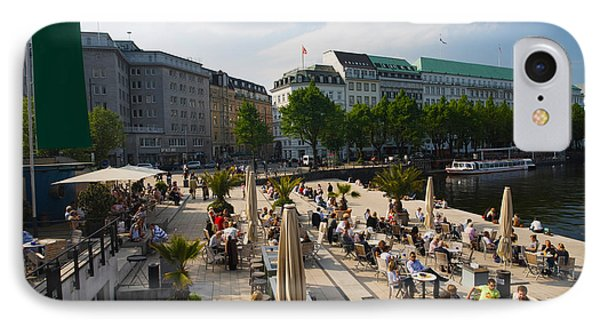 Tourists At A Sidewalk Cafe IPhone Case by Panoramic Images