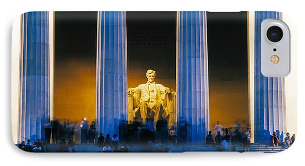 Tourists At Lincoln Memorial IPhone 7 Case by Panoramic Images