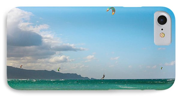 Tourists Kiteboarding In The Ocean IPhone Case