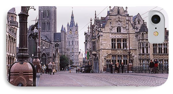 Tourists Walking In Front Of A Church IPhone Case by Panoramic Images