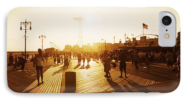 Tourists Walking On A Boardwalk, Coney IPhone Case by Panoramic Images