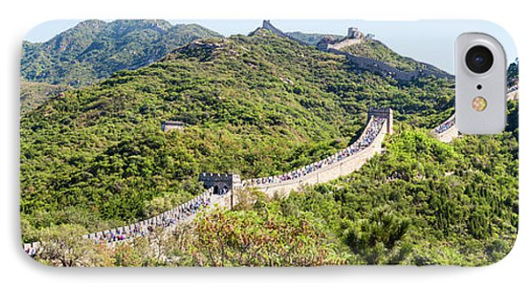 Tourists Walking On A Wall, Great Wall IPhone Case by Panoramic Images