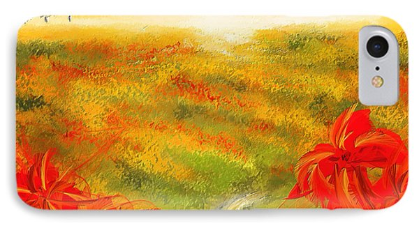Towards The Brightness - Fields Of Poppies Painting IPhone Case by Lourry Legarde