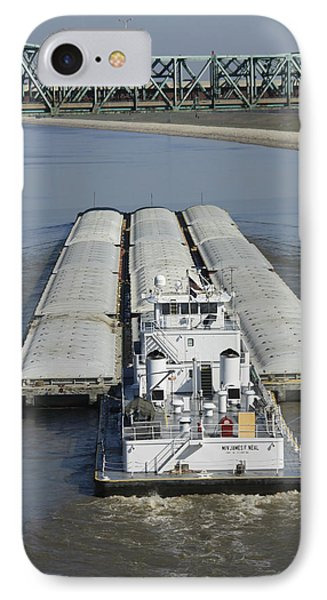 Towboat James Neal In The Chain Of Rocks Canal IPhone Case by Garry McMichael