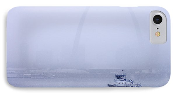 Towboat Working In The Snow St Louis IPhone Case by Garry McMichael