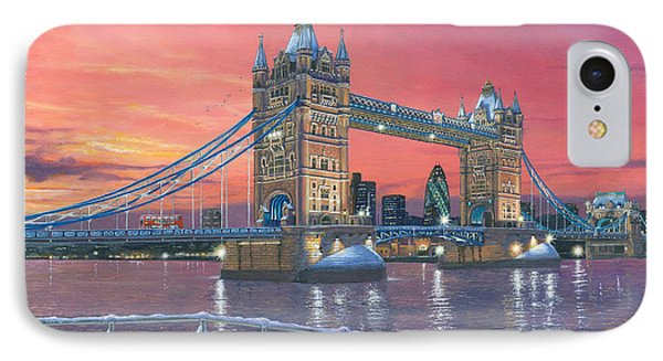 Tower Bridge After The Snow IPhone Case by Richard Harpum