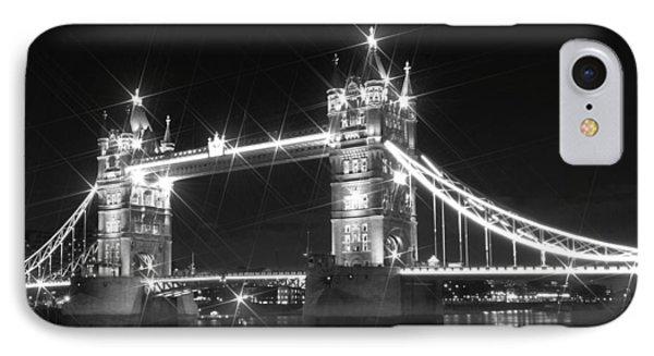 Tower Bridge By Night - Black And White Phone Case by Melanie Viola