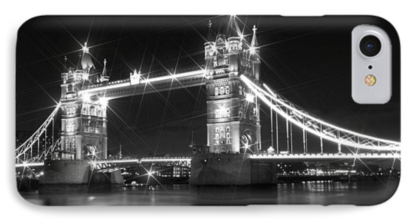Tower Bridge By Night - Black And White IPhone Case