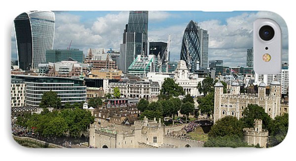 Tower Of London And City Skyscrapers IPhone Case by Mark Thomas