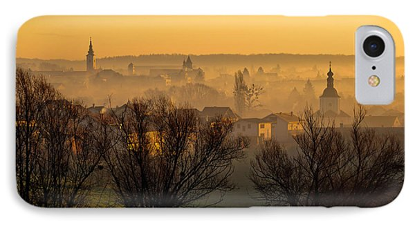 Town Of Krizevci Towers In Fog IPhone Case