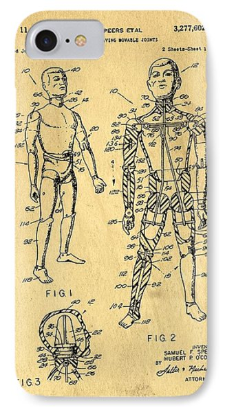Toy Figure Having Movable Joints Support Patent Drawing From 1966 1 IPhone Case by Samir Hanusa
