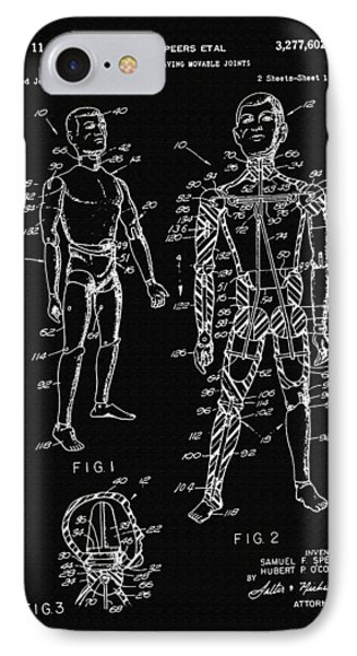 Toy Figure Having Movable Joints Support Patent Drawing From 1966 2 IPhone Case by Samir Hanusa
