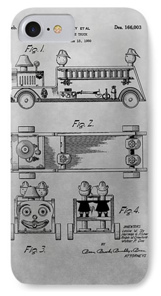 Toy Fire Engine Patent Drawing IPhone Case by Dan Sproul