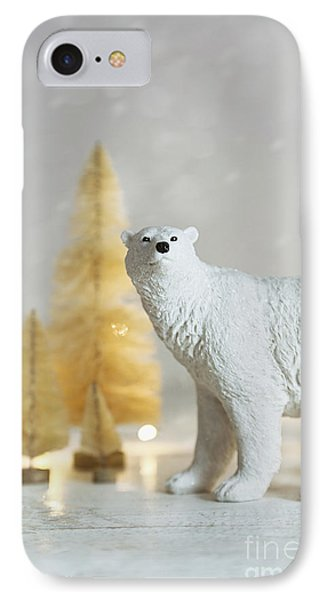 IPhone Case featuring the photograph Toy Polar Bear With Little Gold Trees And Lights by Sandra Cunningham