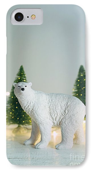 Toy Polar Bear With Little Trees And Lights IPhone Case by Sandra Cunningham