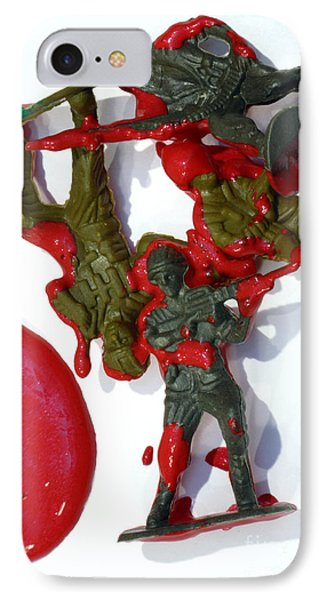 Toy Soldiers In A Pool Of Blood Phone Case by Amy Cicconi
