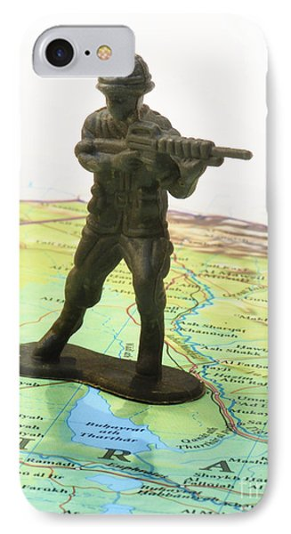 Toy Solider On Iraq Map Phone Case by Amy Cicconi