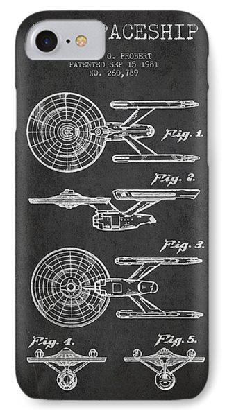 Toy Spaceship Patent From 1981 - Dark IPhone Case by Aged Pixel