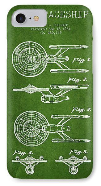 Toy Spaceship Patent From 1981 - Green IPhone Case by Aged Pixel