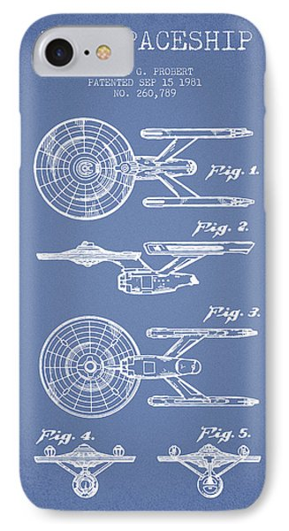 Toy Spaceship Patent From 1981 - Light Blue IPhone Case by Aged Pixel