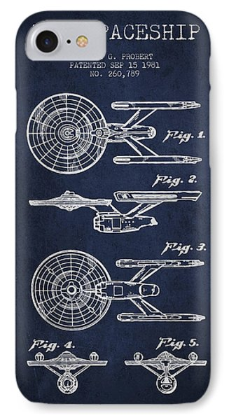 Toy Spaceship Patent From 1981 - Navy Blue IPhone Case by Aged Pixel