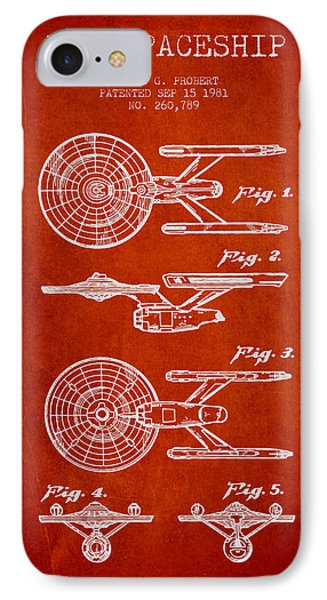 Toy Spaceship Patent From 1981 - Red IPhone Case by Aged Pixel