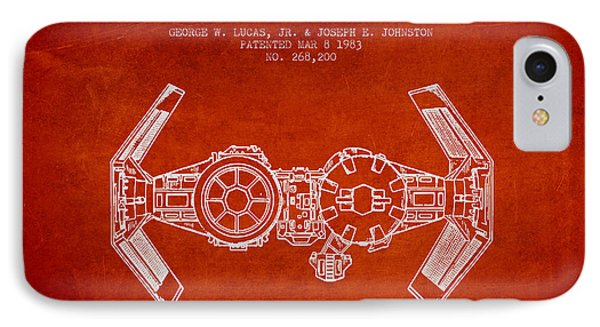 Toy Spaceship Vehicle Patent From 1983 - Red IPhone Case by Aged Pixel