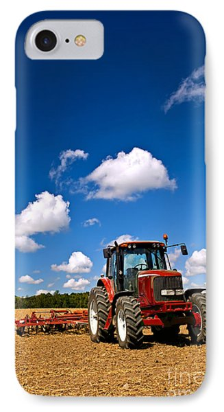 Tractor In Plowed Field IPhone Case by Elena Elisseeva