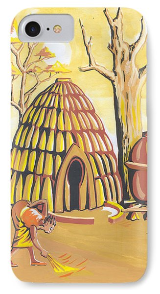 IPhone Case featuring the painting Traditional House Massa Northern Cameroon by Emmanuel Baliyanga
