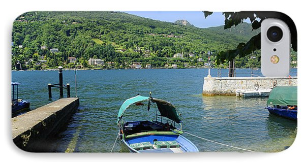 Traditional Lucia Fishing Boat On Lake Maggiore Phone Case by Brenda Kean