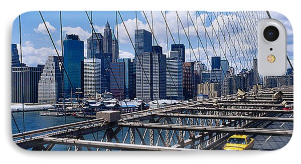Traffic On A Bridge, Brooklyn Bridge IPhone Case by Panoramic Images
