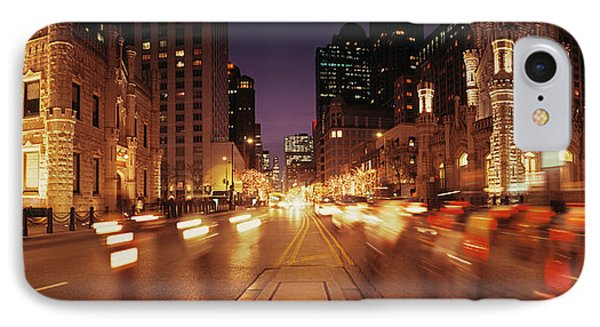 Traffic On The Road At Dusk, Michigan IPhone Case