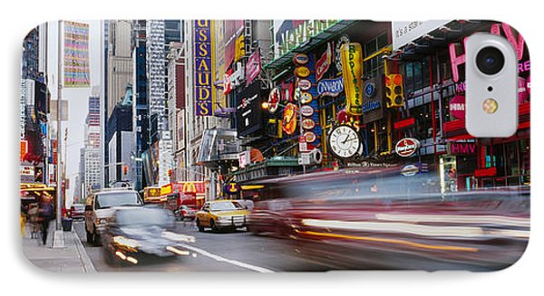 Traffic On The Street, 42nd Street IPhone Case by Panoramic Images