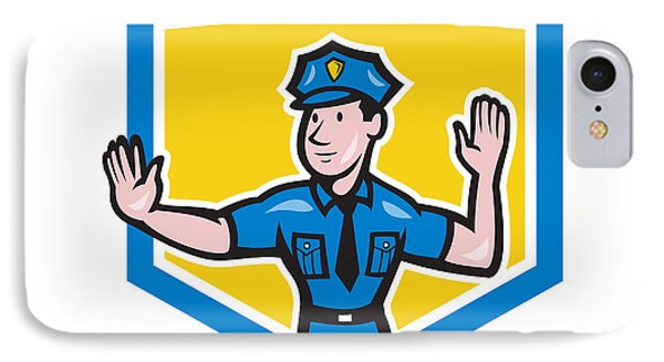 Traffic Policeman Stop Hand Signal Shield Cartoon Phone Case by Aloysius Patrimonio