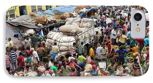 Train And Flower Market, Kolkata, India IPhone Case by Peter Adams
