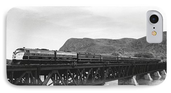 Train Crossing A Trestle IPhone Case by Underwood Archives