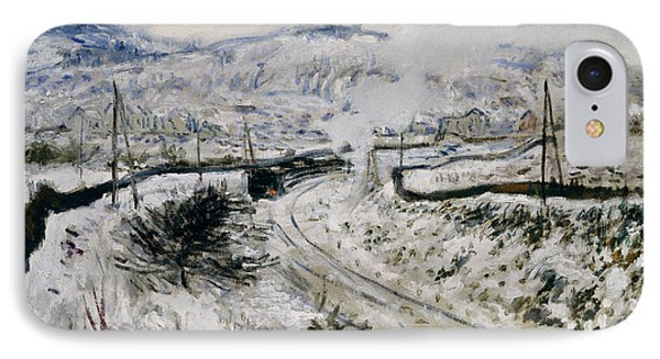 Train In The Snow At Argenteuil Phone Case by Claude Monet