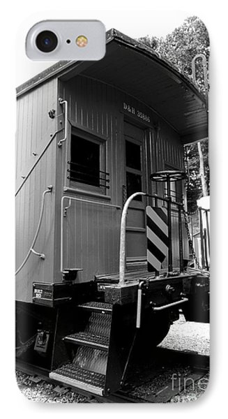 Train - The Caboose - Black And White IPhone Case by Paul Ward
