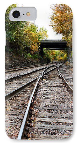 Train Tracks And Bridge In Autumn IPhone Case by Ellen Tully