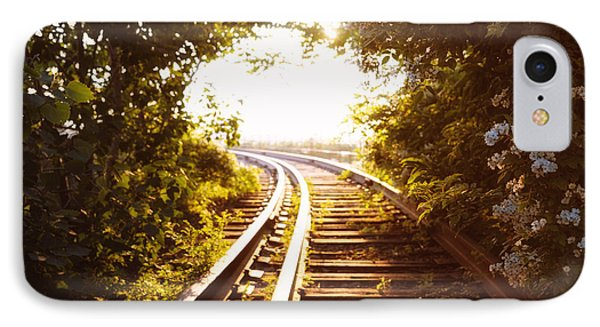 Train Tracks At Sunset IPhone Case