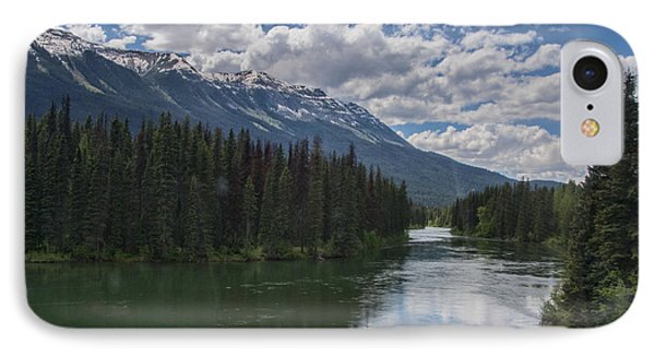 Train Window View Of Lake And Canadian Rockies IPhone Case by Gerda Grice