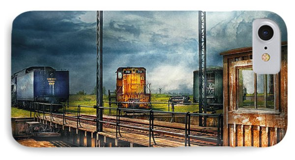 Train - Yard - On The Turntable Phone Case by Mike Savad
