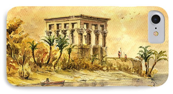 Trajan Kiosk Temple Aswan Egypt IPhone Case by Juan  Bosco