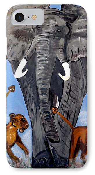 IPhone Case featuring the painting Trampling Elephant by Nora Shepley