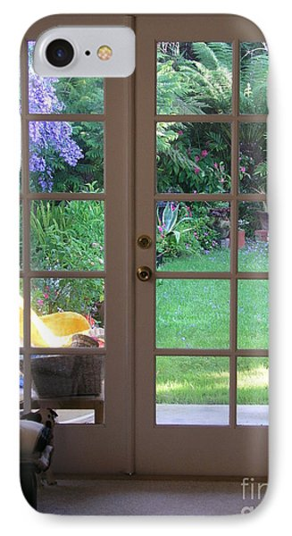 Tranquility Through French Doors IPhone Case by Bev Conover