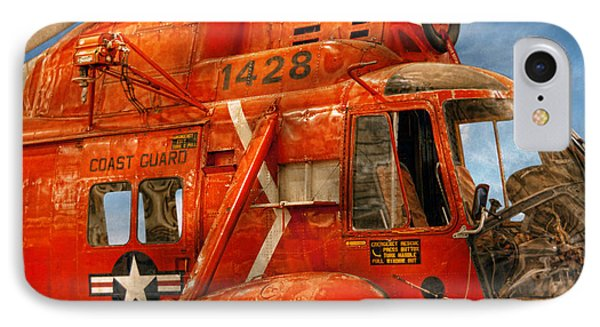 Transportation - Helicopter - Coast Guard Helicopter Phone Case by Mike Savad