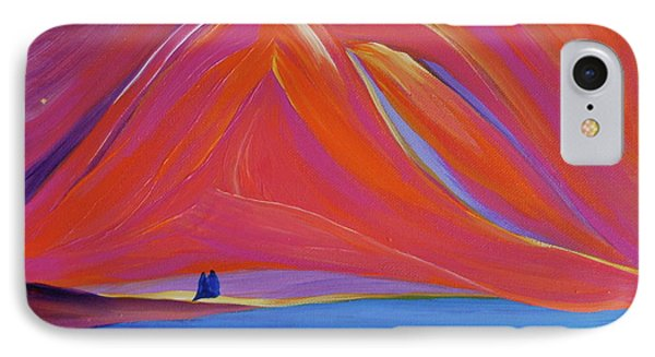 IPhone Case featuring the painting Travelers Pink Mountains by First Star Art