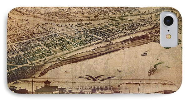 Traverse City Michigan Vintage 1879 Map Aerial View Of Grand Traverse Bay On Worn Parchment IPhone Case by Design Turnpike