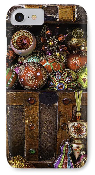 Treasure Box With Christmas Ornaments IPhone Case by Garry Gay